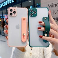 Matte Transparent Cell Phone Cases For IPhone 12 11 pro max X XR with wristband ring holder drop-proof two-in-one PC TPU Frame mobilephone case