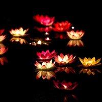 LED Souhaitant Lotus Lotus Lampe Lampe Lampe de fleurs Piscine de fleur Lampe Colorée Eau Lampe de chandelle pour la fête de fête de mariage Décor du festival
