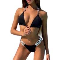 Özel Logo Etiket Etiketi 2021 SOOSD Siyah Halter Bikini Tasarımcıları Takı Tasarımcısı Mayolar Ünlü Markalar Bayan Mayo