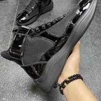 이탈리아어 새로운 브리트 앞으로 블랙 가죽 신발 높은 상위 캐주얼 메쉬 패션 남자 동향 보그 망 도착 레저 블루 38- 메피