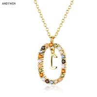 ANDYWEN 925 Sterling Silver Gold Initial C Alphabet Letter E F R Pendant Long Chain Necklace Women Rainbow CZ Jewelry 210608