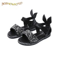 Jgshowkito Baby Girl Sandalias Fashion Bling Bling Chicas brillantes Zapatos con conejo Oreja Niños Piso 13-22cm 210729