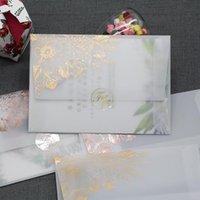 12 adet / grup Gül Altın Bronzlaşan Şeffaf Zarflar Litmus Kağıt Düğün Davetiyesi için İş Kullanımı Hediye Paketi