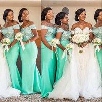2021 Sexy lentejuelas verdes Vestidos de dama de honor africano africano Off Hombro Spaghetti Correas Lentejuelas Elástica Satén Sirena Sirena Boda Guest Gown Vestido Dama de Honor Vestido
