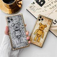 3D Bear platch Square Back Case Volle Schutzkarikatur Silikon Telefon Shell für iphone 12 mini 11 pro xs max xr 8 plus