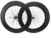 Roues à vélos 88mm Route de carbone Full TheelSet 23mm Largeur RIM Cycling Powerway HUB 18 / 21H, 20 / 24h 700C
