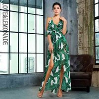 Lovelondeade Cuello en V Corte de hoja verde Impresión de impresión de gasa Jumpsuit lm81410 210326