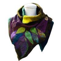 Шарфы старинные женщины осень осень зима листьев мягкой обертки нерегулярный шарф кнопка теплый шаль дамы бандана шей гайтер 2021 мода