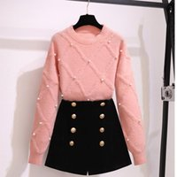 Women's Tracksuits Women Velvet Shorts 2 Piece Set Casual Beading Knit Top And Double Breasted Suits Solid Autumn Outfit