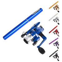 Boat Fishing Rods 2Pcs Set Pen Type Rod Spinning Wheel Pocket Ice Sea Tackle For
