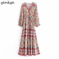 Yenkye Vintage Kadınlar Çiçek Baskı Tatil Rahat Uzun Elbise Kadın V Boyun Uzun Kollu İpli Bel Yazlık Elbise Boho Robe 210325