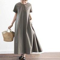 Длинный сплошной цвет Maxi платье повседневная женская летняя сарафан Vonda женский 100% хлопок японские халаты с коротким рукавом платья M-XL 210527