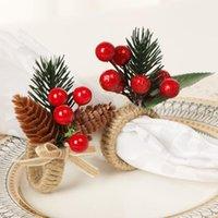 Western Christmas decorative pine cone napkin ring simulation flower decorative Hotel napkin buckle LLB10406