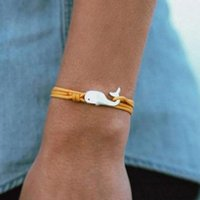 Charm Bracelets Navy Style Camping Parachute Cord Whale Tail Bracelet Men Women Jewelry Wrap Metal Hooks