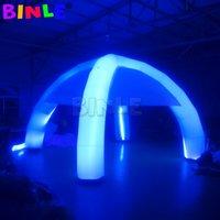 Гигантский 6м надувной паутина на надувной паук с RGB красочные светодиодные светильники 4 ноги арочный навес Gazebo Marquee Dome для рынка / вечеринка / кинотеатр свадебное украшение