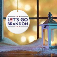 Let's Go Brandon Christmas Tree Ornament Wooden Home Indoor Room Window Pendant Xmas Tree Gift Boxes Parcel Hangtag Tag Party Decoration G01NQ2E
