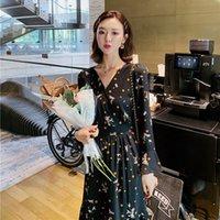 . 2021 Spring and Autumn Fat m Sister Black Floral Women's Dress Celebrity Temperament V-neck Fairy Waist Length Skirt