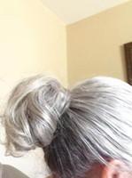 Afro Bötchen Puff Mode elastische Wrap Kordelzug echte menschliche lockige Pferdeschwanz Donut Chignon Haarteile Updo Haarverlängerungen mit Clips (1b / grau)