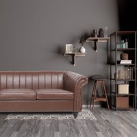 US Warehouse Woonkamer Meubels Chairon House 84 '' Bruin PU Rollow Arm Chesterfield Three SOFA SOF.