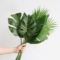 Decorative Flowers & Wreaths Pieces Of Monstera Artificial Plants Plastic Tropical Palm Tree Leaves Home Garden Decoration Accessories Pogra