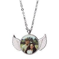 Lindo espacio en blanco en forma de sublimación de sublimación colgante collar collar ángel ala pareja de la joyería de aleación de zinc