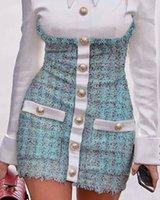 Карандаш BodyCon платье Европейская мода женские искусственные 2 штуки Поверните воротник рубашку заплатали твид шерстяной однобортный 2020 новый дизайн