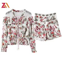 Women's Tracksuits ZALady Designer Vintage Floral Two Piece Set Suit Women Clothes Casual Traf Summer Lace Ruffles Long Sleeve Top Shirt And