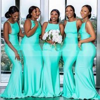 2021 Simple Turquoise Bridesmaid Dresses Sheath Straps Mermaid Sleeveless Custom Made Plus Size Maid of Honor Gown vestidos Country Wedding Guest Wear