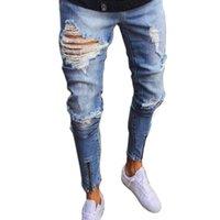 Men's Jeans High-end Ankle Zipper Hiphop Men Plus Size Knee Holes Joggers Man Self-cultivation Classic Denim Pants