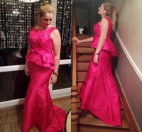 Vintage Fuchsia Mermaid Mother of the Bride Groom Dresses Lace Top Long Jewel Neck Satin Prom Evening Formal Gowns Plus size