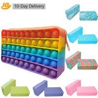 Fidget Toys Sensory Moda Rainbow Student Pencil Case Push Bubble Tie-barwnik Kolorowe Anti Stres Edukacyjne Dorośli Decompression Zabawki Dla Dzieci Szkoła Prezent Hurtownie