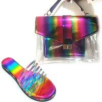 Zapatillas colorido color brillante arco iris jalea monedero y juego de zapatos a juego Diapositivas para mujer Slip Slipper Dames Schoenen