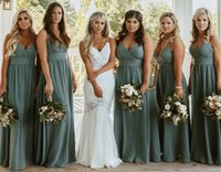 Dark Green Bridesmaid Dresses A Line Floor Length Sleeveless Spring Summer Garden Countryside Wedding Guest Maid of Honor Gowns Tailor Made Plus Size Available
