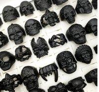 2021 new 100pcs lot Gothic Punk Skull Rings black colour Tough Guy retro mix Styles Men's Women's Jewelry Gift(size:18mm-23mm)