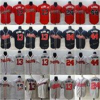 Hombre 13 Ronald Acuna JR Baseball Jersey 24 Deion Sanders 44 Hank Aaron Stitched FlexBase Fool Base USA White Rojo Negro Azul Gris