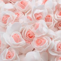 200 stks 3 cm mini dubbele kleur kunstmatige pe foam rose bloem hoofden voor bruiloft decoratie diy handgemaakte nep bloemen bal ambacht