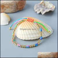Tennis Jewelrytennis Kelitch Mticolor Rope Cuff Bangles Chain With Gold Metal Beaded Strand Trendy Friendship Bracelets Jewelry Female Drop