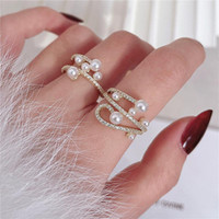 Cluster Rings Fashion Rhinestone Pearl Criss Twist For Women Korean Style Delicate Open Ring Jewelry Multi Layers