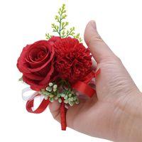 Çiçek Bilek Korsaj Boutonniere El Yapımı Bileklik Kırmızı Pembe Yapay Şakayık Gül Koruyucu Düğün Nedime Parti Takım Dekor Zze5373