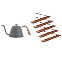 Duftleuchten 5 Stück Holz Räucherstäbchenhalter Home Brenner 1x Gießen Sie über Kaffeekessel Edelstahl, 17Oz
