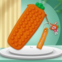 Carrot Fidget Toy for Girls Gift Silicone Bags Stress Relief Game Squeeze Toys Push Bubble Pencil Case Party Favor OWA8671