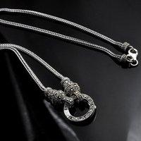 Echte Silber Langkette Halskette Frauen S925 Sterling Marcasite Stein Anhänger Thai Schmuck Geschenk Ketten