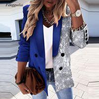 Women's Jackets Autumn Ladies Fashion Suit Lapel Printed Cardigan Button Jacket Long Sleeve Slim Casual Elegant Office Lady