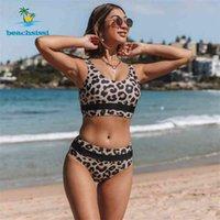 Beachsissi Мода Высокая талия Купальники Женщины Леопард Бикини Купальники Купальники Бикини Бикини Набор Летний Праздник 210322