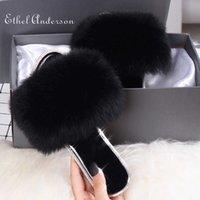 Ethel Anderson fur slides Real Fur Slippers Fully Slides Flip Flop Casual Summer Sandal Crystal Bling designer slippers 210609