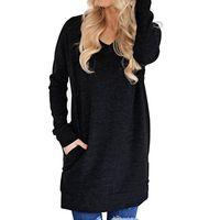 Women's T-Shirt Fashion Round Neck Long Sleeve shirt Loose V neck Pocket Split 0L2K
