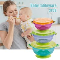 3pcs set Baby Suction Cup Bowls With Lid Spill-Proof Infant Feeding Dish Drop Resistance Sucker Dinner Plate BENL88