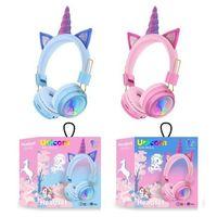 AH-902A Wireless Headphones Rainbow unicorn Cat ears headset stereo Bluetooth headsets 2 color optional