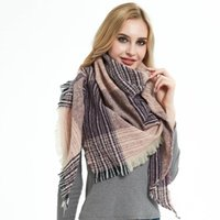 Scarves 2021 Nwe Fashion Fall And Winter Triangle Shawl Ladies Thin Plaid Square Scarf Outdoor Keep Warm Polyester CN(Origin)