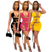 Sexy Women Dress Cross Bandage Sleeveless Party Night Backless Skinny Summer Clothes For Women Vestido Femme 210506